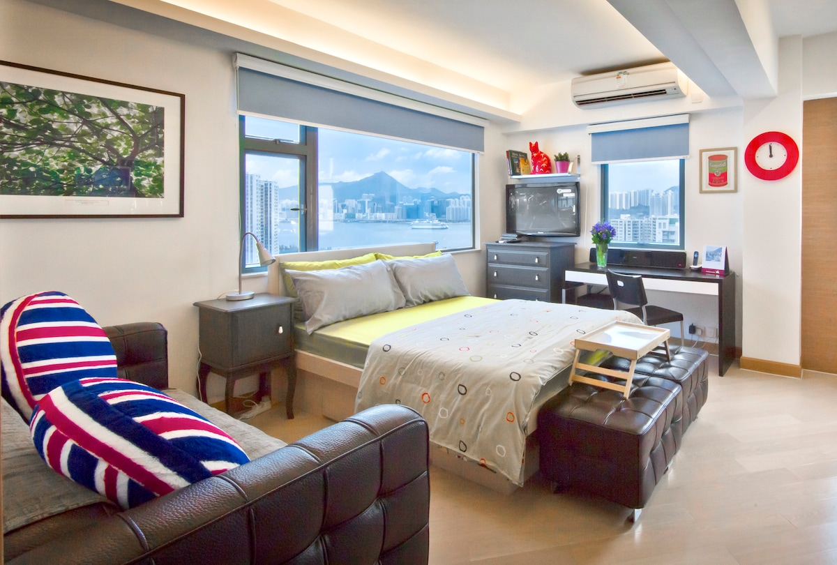 Harbour view condo for your comfort stay in Hong Kong.