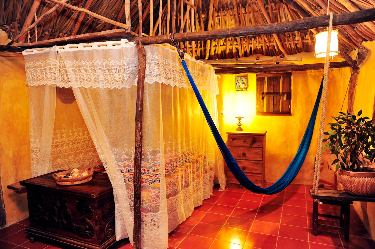 Casitas Kinsol Guesthouse in Puerto Morelos - near Cancun - Room #8 - One full-size bed + one optional mattress on the mezzanine
