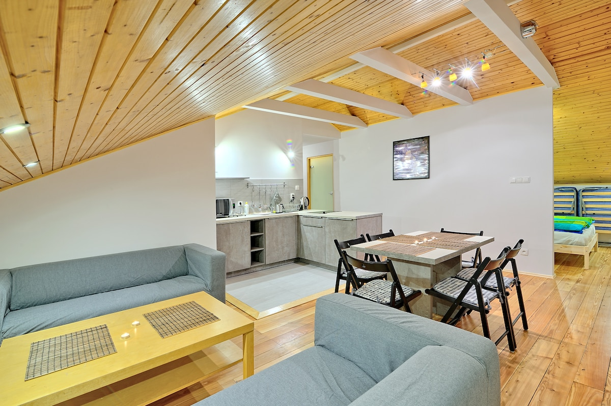 Sunny, spacious attic loft