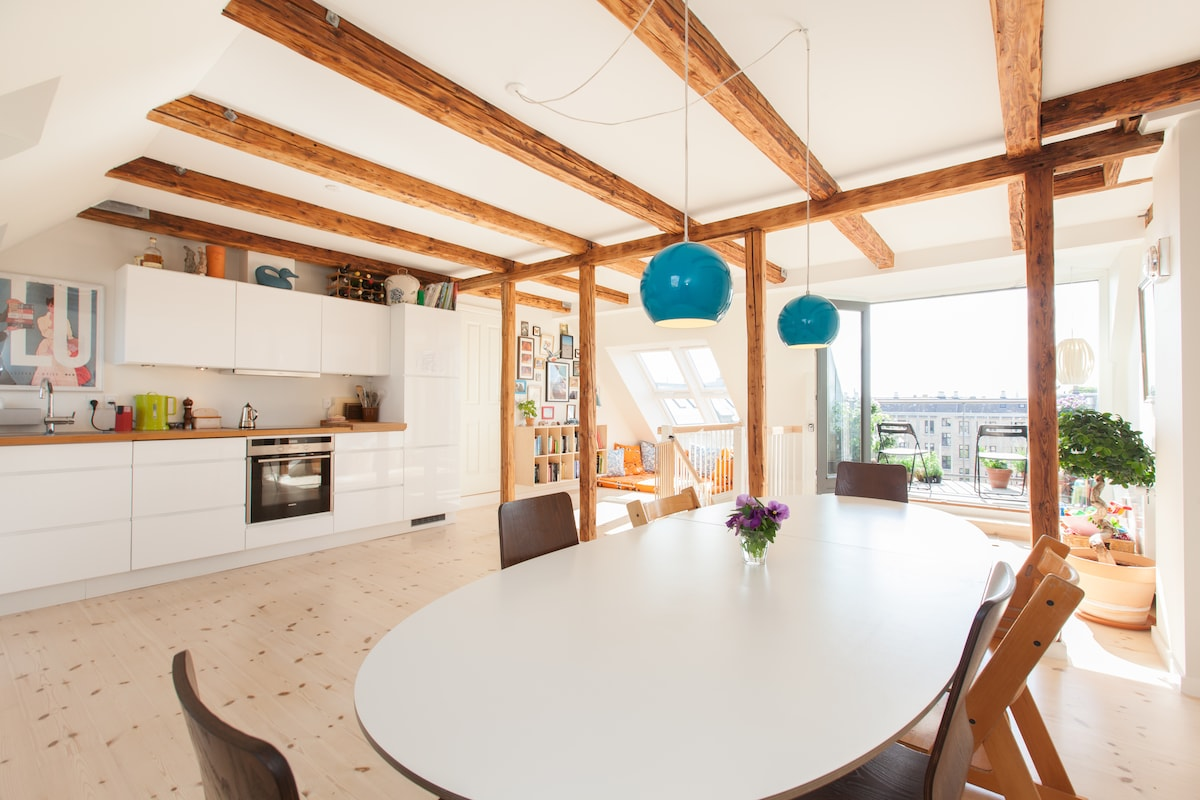 Kitchen, diningroom, chill out area and acces to the terrace - all in one!