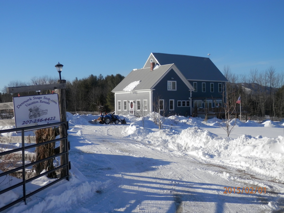 """Denmark Stage Stop Maine House Winter View-almost 40"""" snow in past week"""