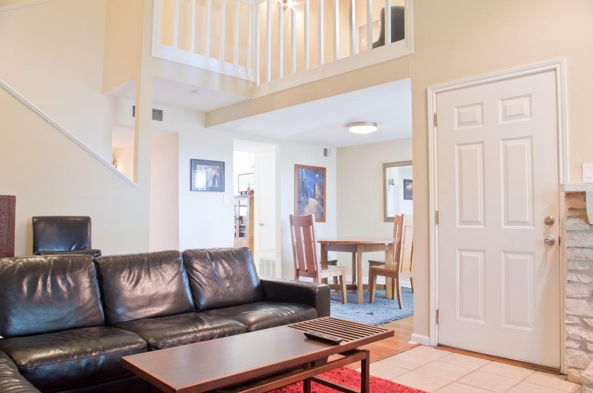 Front door, dining room, into kitchen, upstairs loft.
