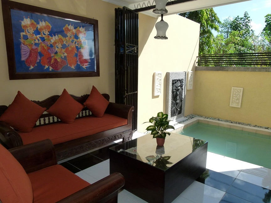 Lounge area open to the pool