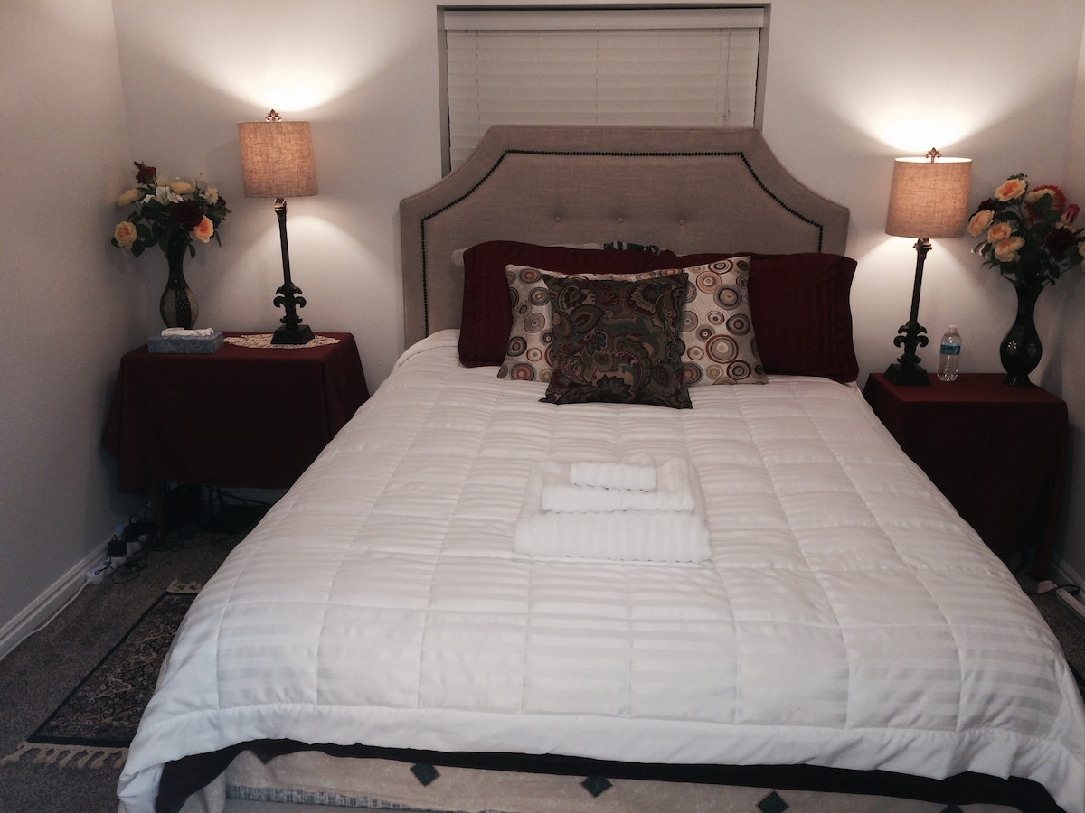 Front view of private guest room