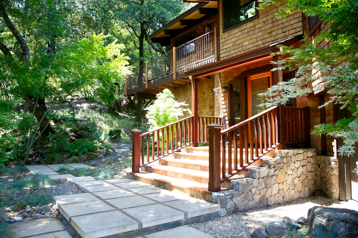 Amazing PRIVATE mountain location, just minutes from the Plaza & Glen Ellen.  NEW Craftsman-era house !