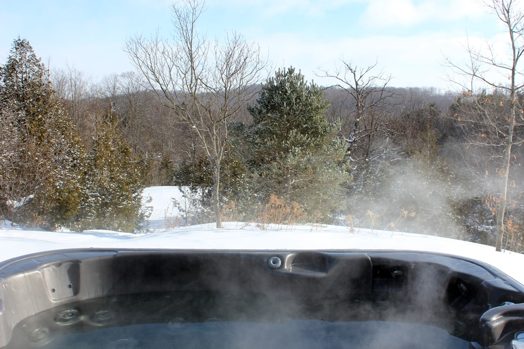 Hot tub view of the valley and hills.