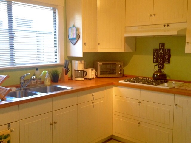 Other view of the famous green kitchen, no oven - just a range top.