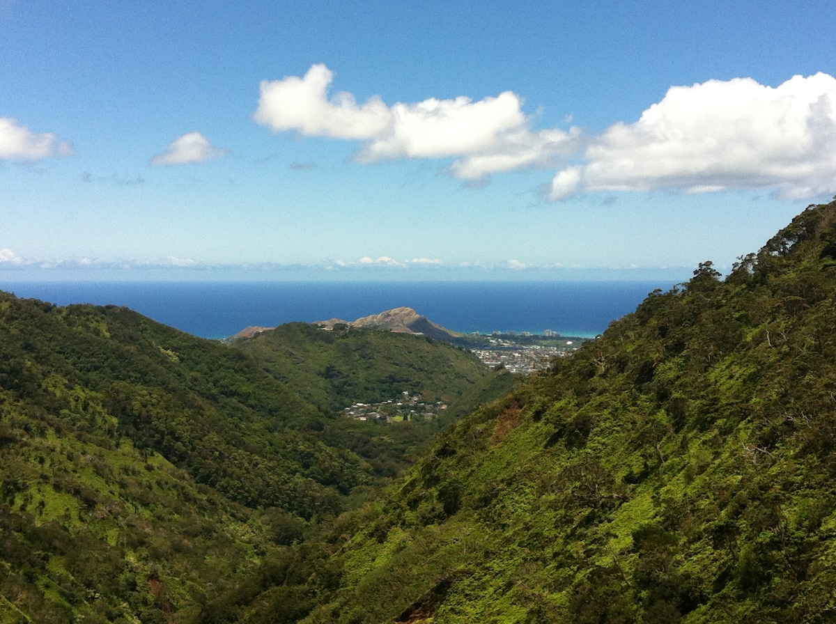 View of Palolo Valley, Diamond Head & Waikiki from the Ka'au Crater Trail
