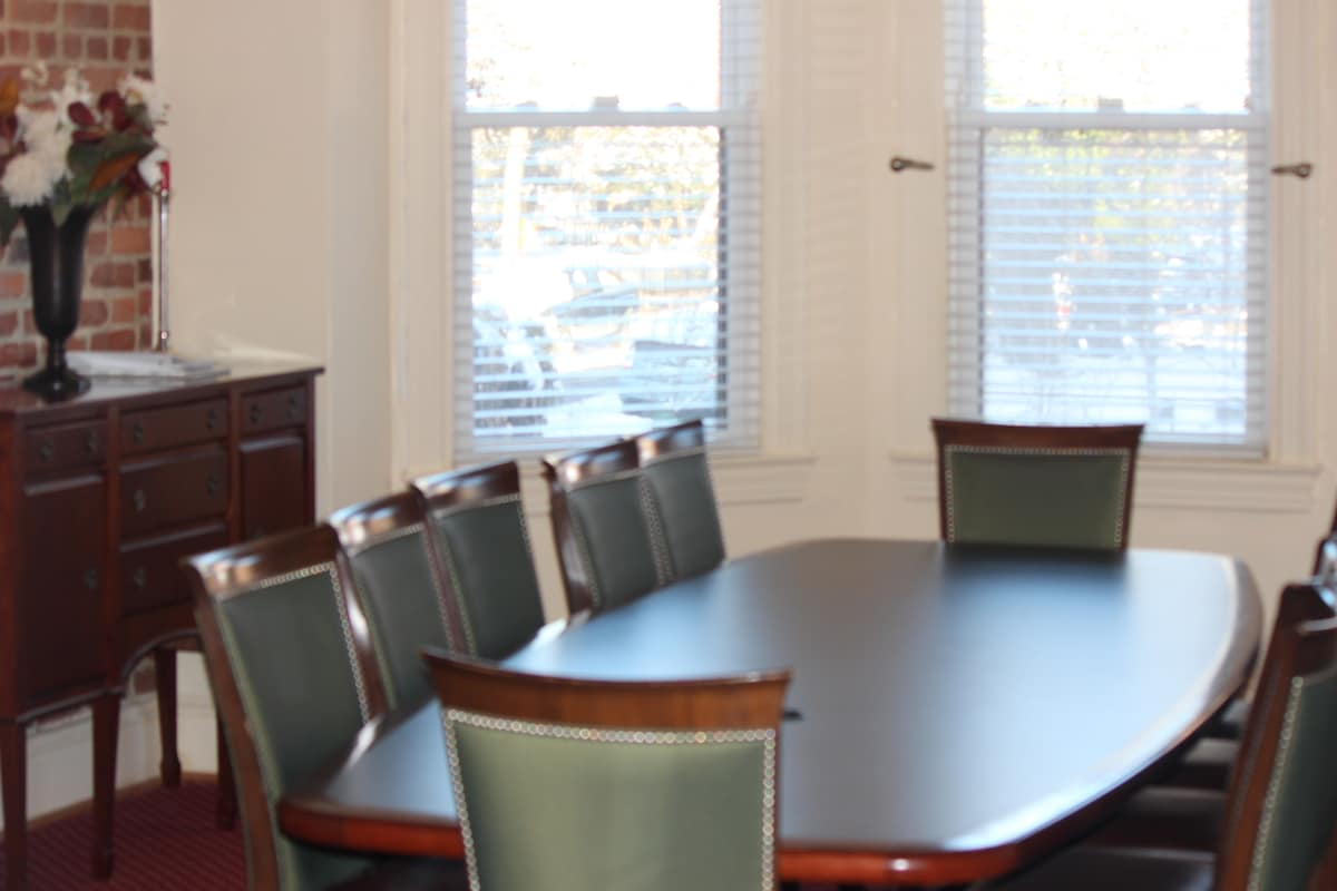 Close up view of conference room/dining rm table.