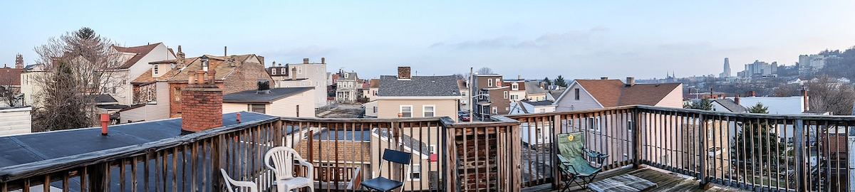 Panorama view from rooftop deck