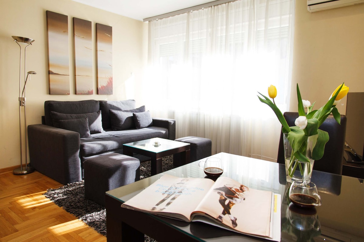 Living room equipped with one high quality double sofa bed which is suitable for 2 persons