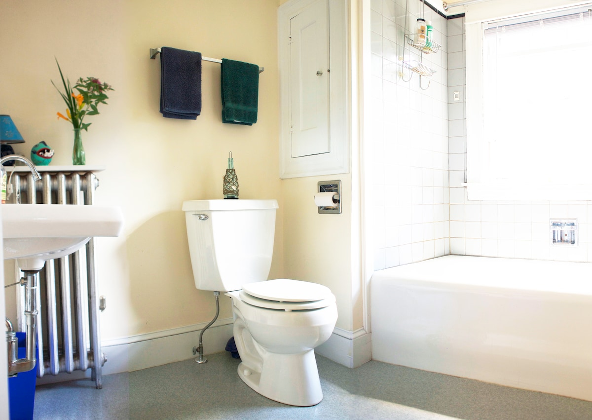 Shared bathroom with combined cast iron tub and shower.