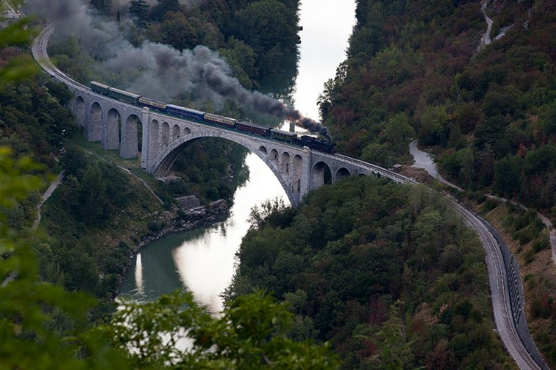 You can go to Bled with this historical train. This stone bridge has more then 100 years. Under its arch some pilots were flying.