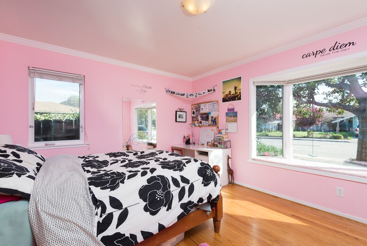 One bedroom with a double bed