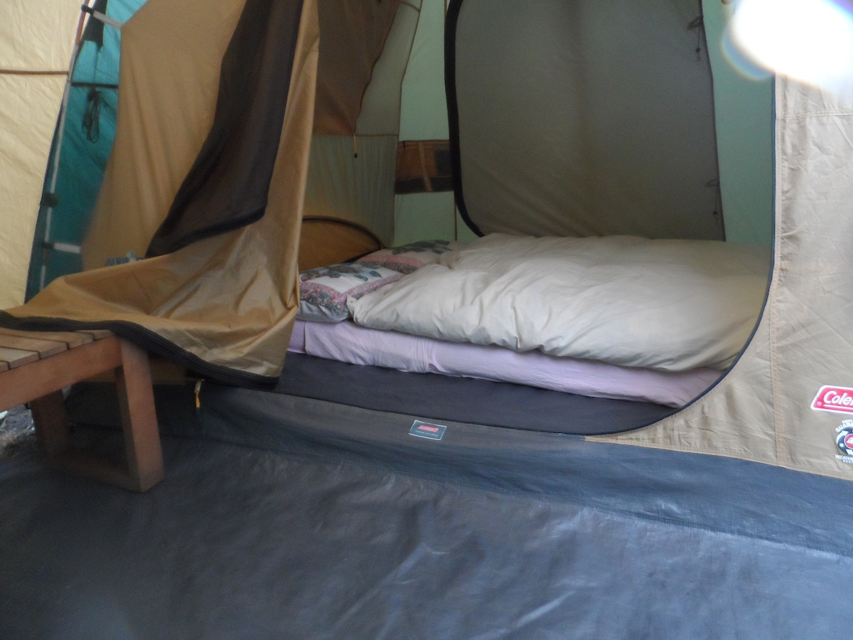 Tent, bed, breakfast and bike!