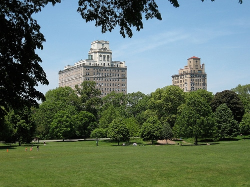 Prospect Park is a 5-minute walk from the apartment.