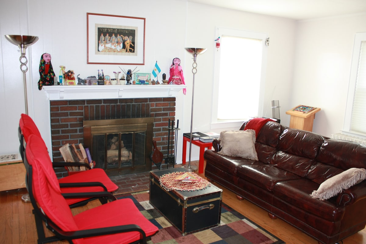 shared living room with fireplace