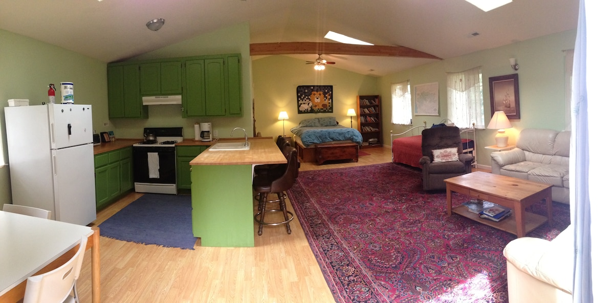 Floor plan: dining and kitchen at left; living area at right; queen bed in back, bathroom back left; trundle bed middle right.