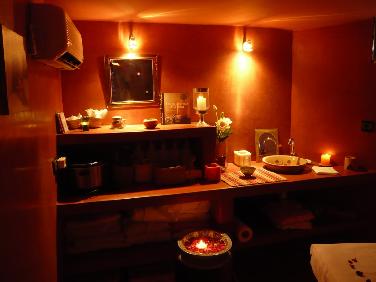 massage room on the terrace level