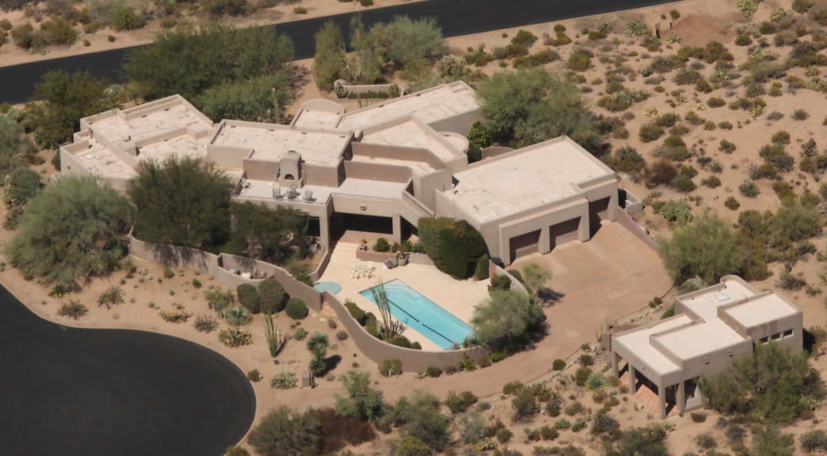 This home and casita are in a gate-guarded golf community in Scottsdale.