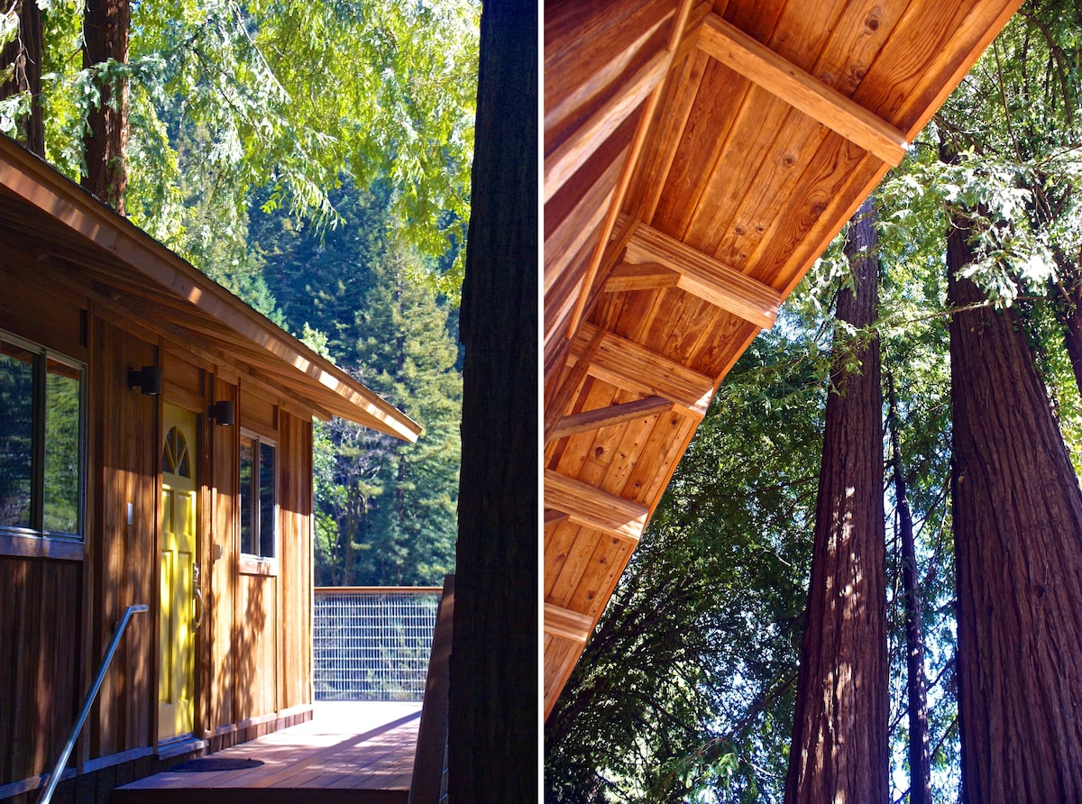 "The elevated deck give you the feeling of a tree house in the redwoods. This heritage redwood tree is 72"" diameter and estimated at over 1500 years old!"