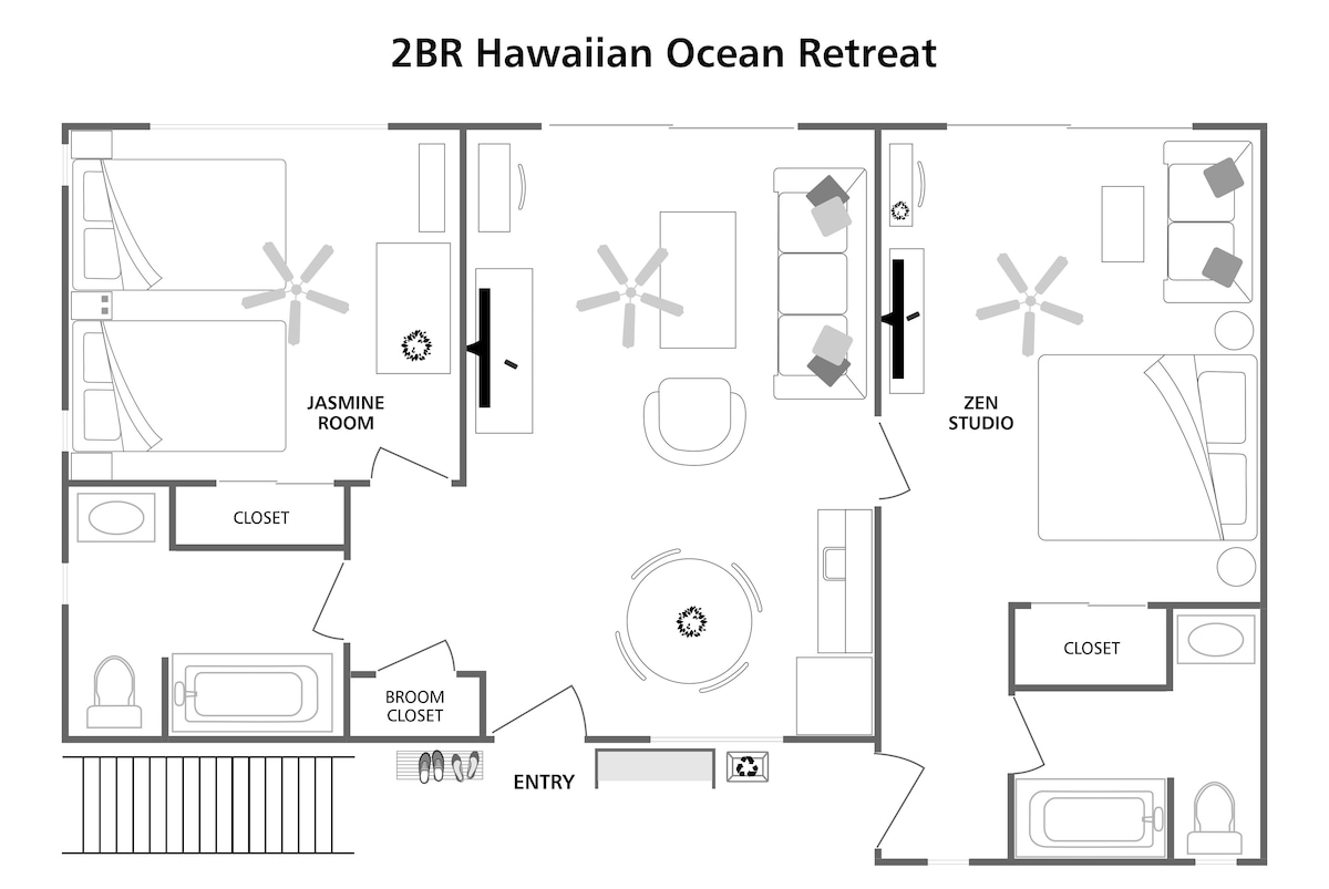 Floorplan for 2BR apartment on 2nd floor