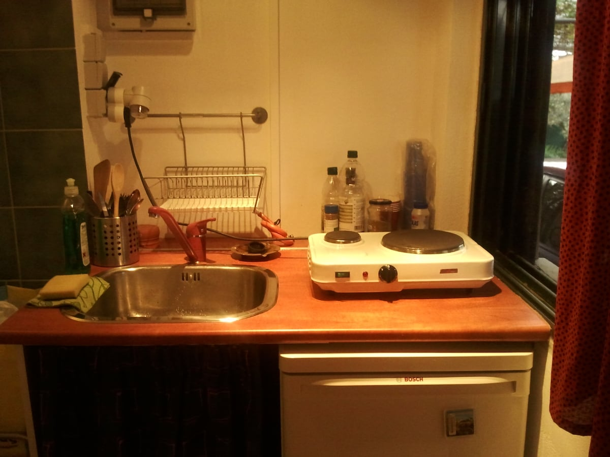 The kitchenette is in the room (for simple cooking)