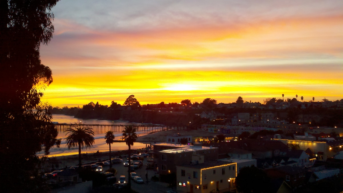Amazing sunset Capitola Village and Wharf