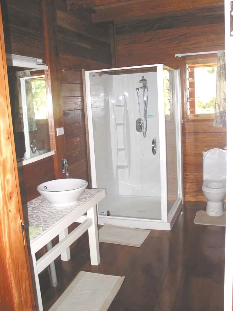 One of the two bathrooms with showers