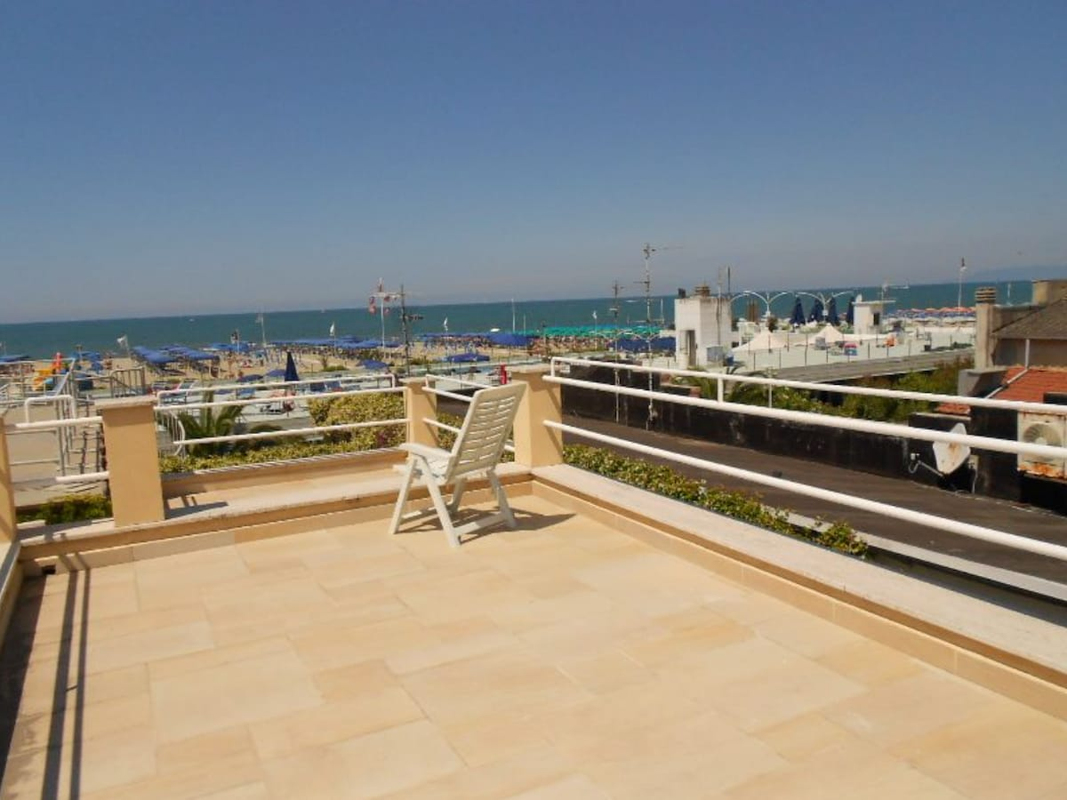 A terrace overlooking the sea