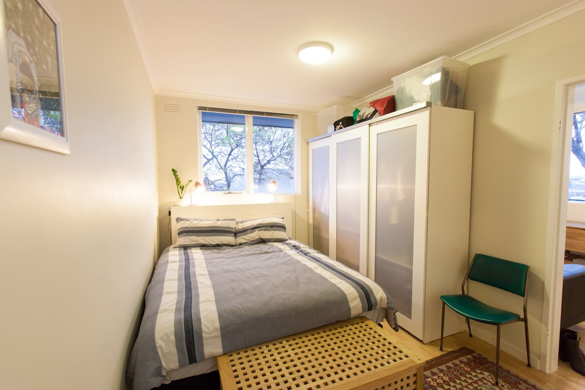 Sweet dreams! You can store clothes and other valuables in the sliding closet on the right.