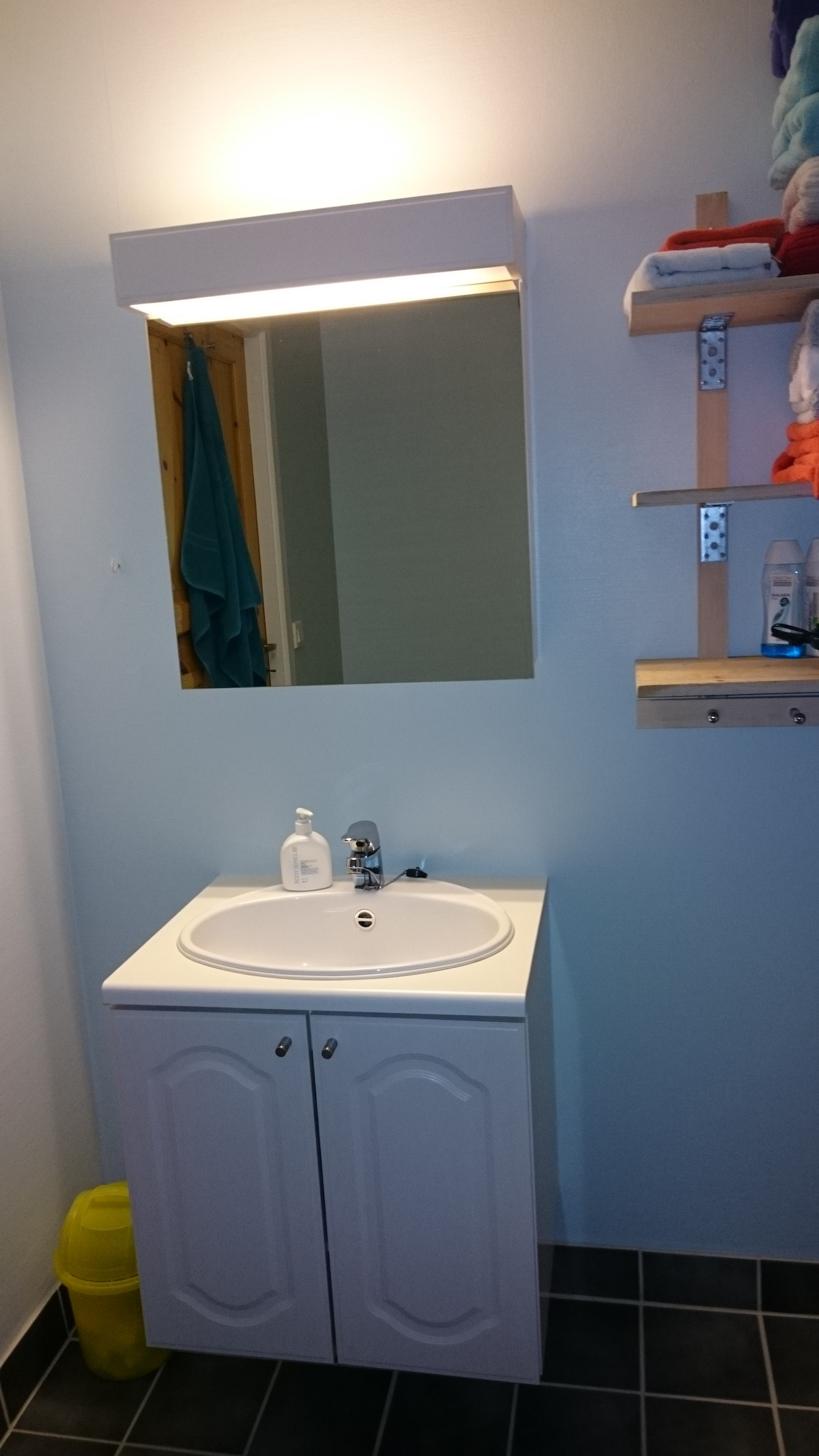 The bathroom contains a wash and mirror, a shower cabinet and a toilet.