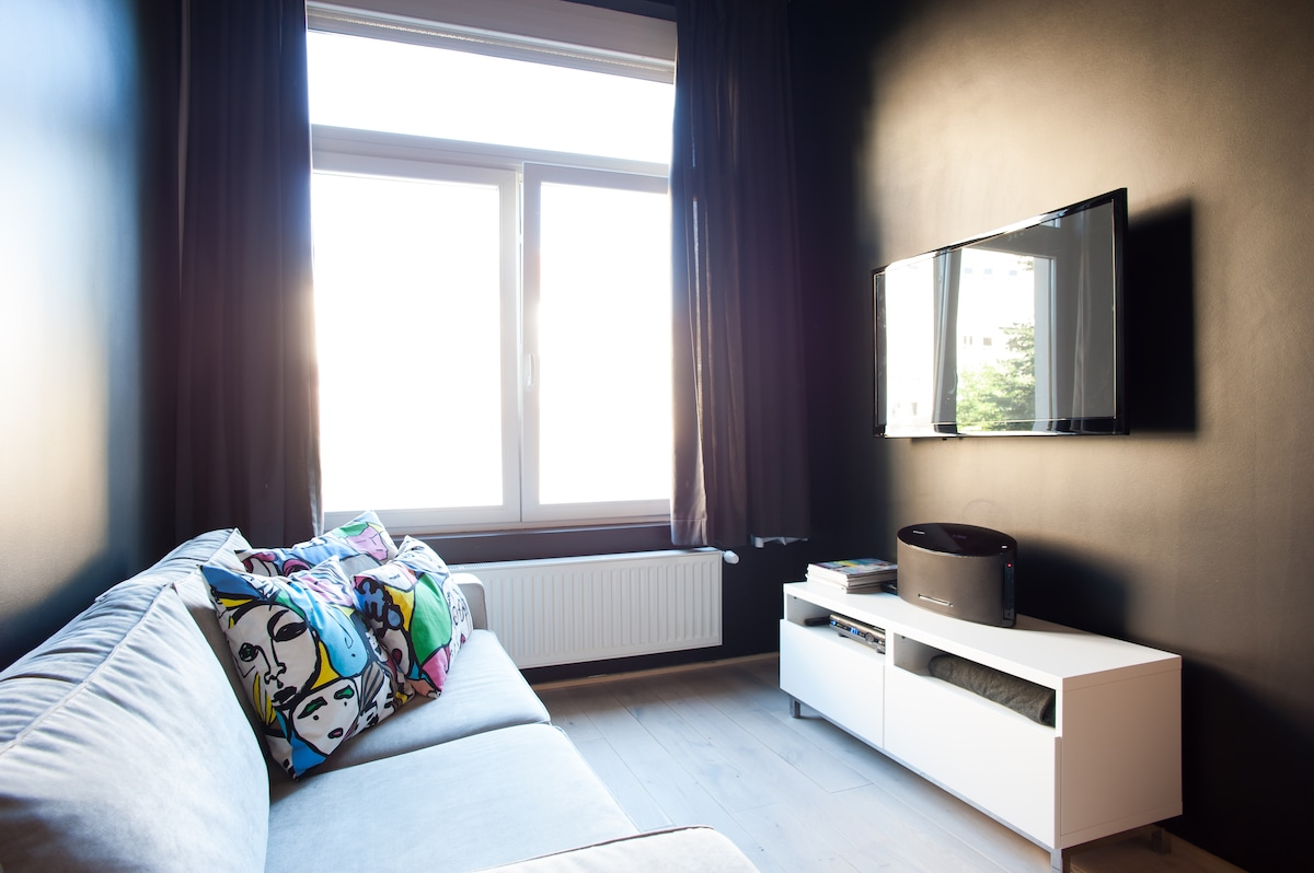 Flat screen tv, Ipod dock station in this cosy room / Ecran plat, station iPod dans ce coin salon