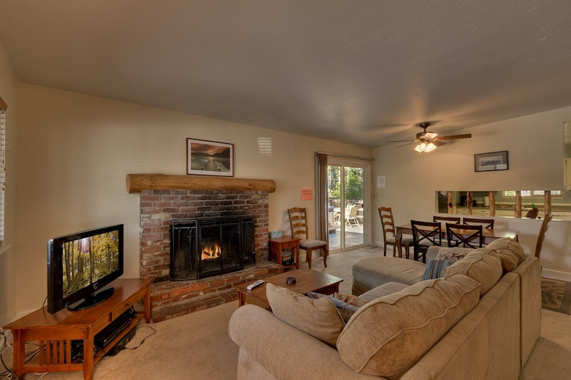 Living space features a cozy fireplace, LCD TV with Direct TV and Xbox.