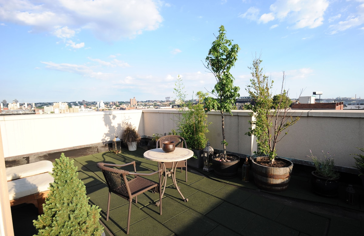 Spacious room w/private roof deck