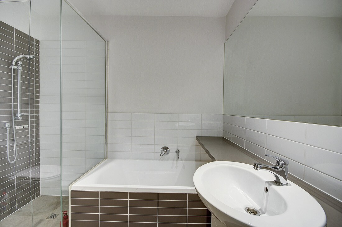 There are two bathroom, this, the main (looks compressed in the pic) has a regular size bath plus shower, hand basin and loo. the second bathroom has shower, toilet and handbasin.