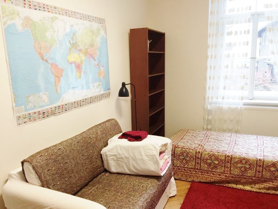The private room has a table, sofa for two and a separate bed, so it can host 3 persons. If you are coming with a baby, we profive a baby cot or a small child bed.