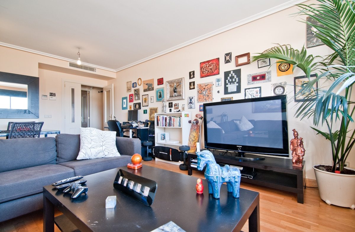 Our personal art collection, longboards and  TV. Notice the very nice and healthy plant on the right.