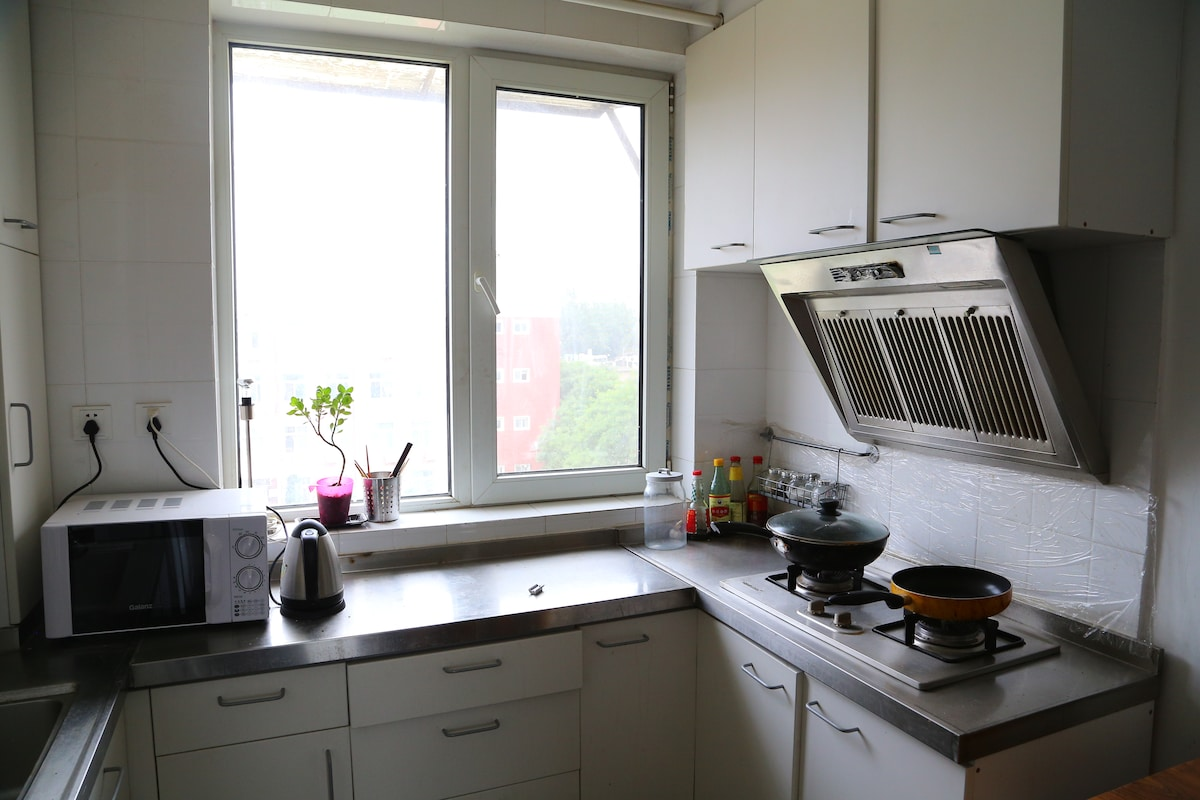Fully equipped apt with big kitchen
