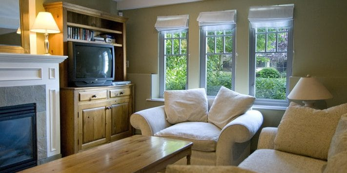 """Madrid Master. 700 square feet, includes a new 40"""" LCD HD TV (not shown), gas fireplace, garden view."""