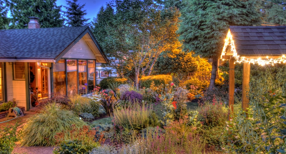 The glow of a full moon shines bright on the garden
