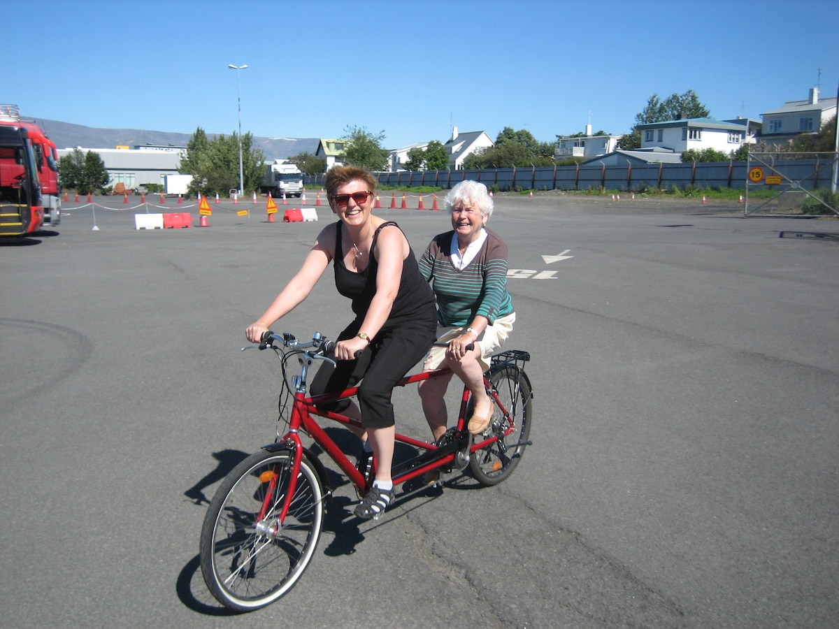 Ever ride a tandem? Everyone can and it is fun! We do also have regular bikes. It is the best way to discover Reykjavik.