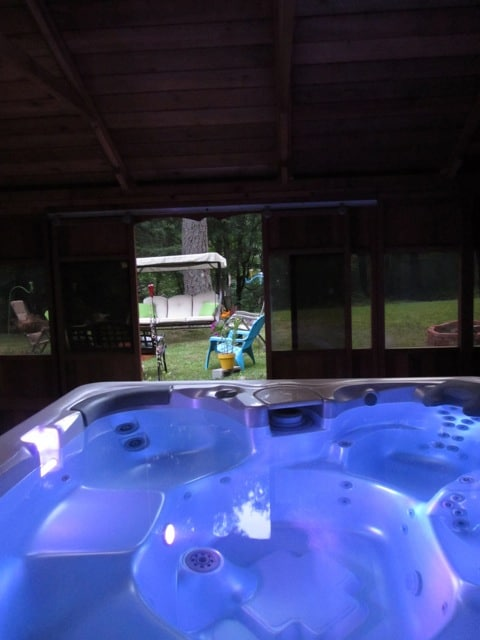 Relax in the enclosed spa and let your tension melt away