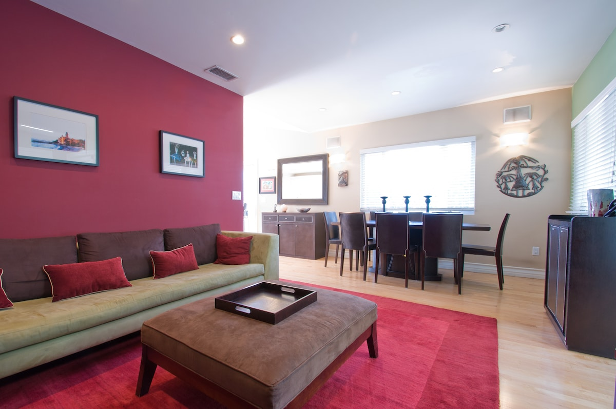 Living Room and Dining Area with Dry Bar
