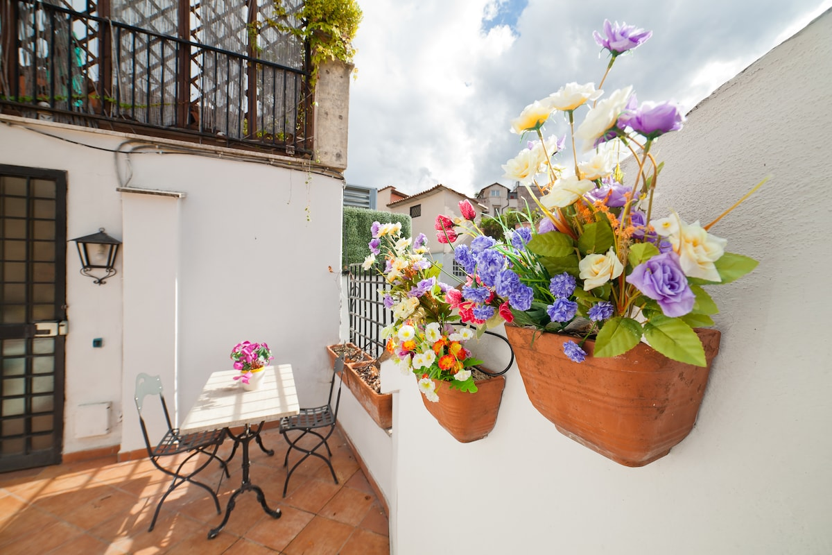 Terrace is a rarity in historical centre. You can have your breakfast on the roof of Rome.
