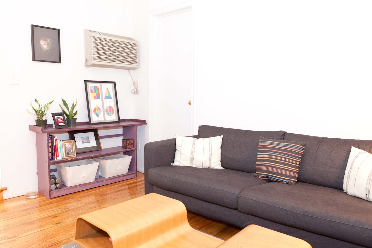 Living Room on the upper level of the apartment