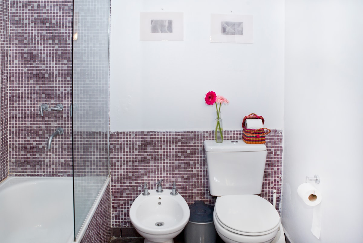 Your bathroom with your own bathtub and bidet