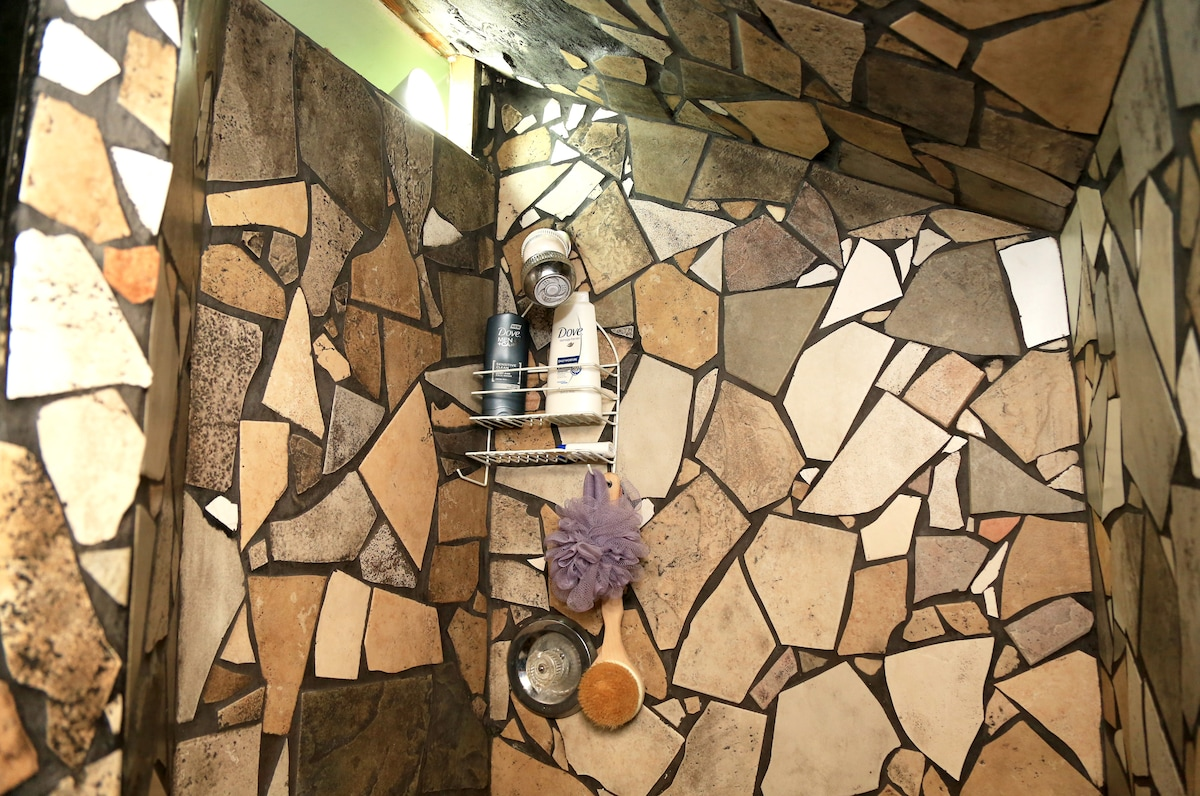 Hand crafted, stone mosaic tile shower, stand up only, but big enough for two... ;-),,