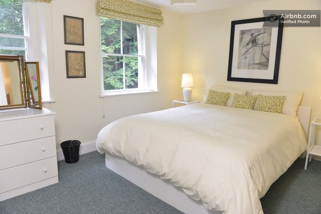A very comfortable 6ft bed or two 3ft singles. Ensuite with lovely outlook - -