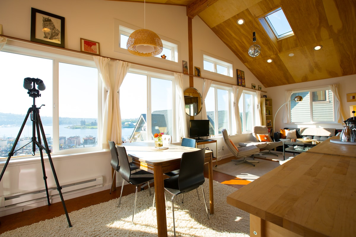 The Sky Cabin has a vaulted ceiling, skylights, and a view from every chair!